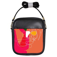 Orange abstraction Girls Sling Bags