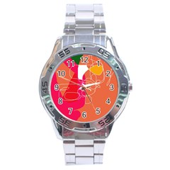 Orange abstraction Stainless Steel Analogue Watch