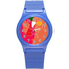 Orange abstraction Round Plastic Sport Watch (S)