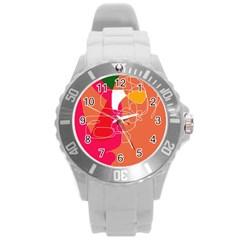 Orange abstraction Round Plastic Sport Watch (L)