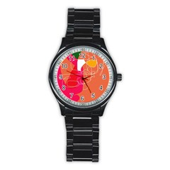 Orange abstraction Stainless Steel Round Watch