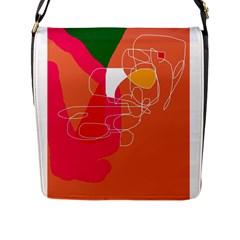 Orange abstraction Flap Messenger Bag (L)