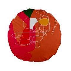 Orange abstraction Standard 15  Premium Flano Round Cushions