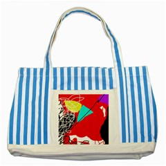 Colorful abstraction Striped Blue Tote Bag