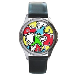 Colorful abtraction Round Metal Watch
