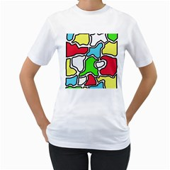 Colorful abtraction Women s T-Shirt (White) (Two Sided)
