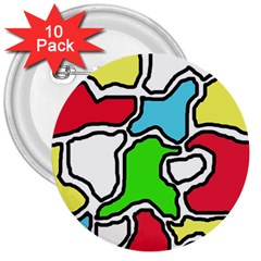Colorful abtraction 3  Buttons (10 pack)