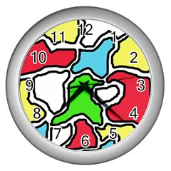 Colorful abtraction Wall Clocks (Silver)