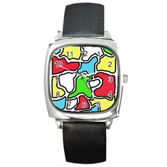 Colorful abtraction Square Metal Watch