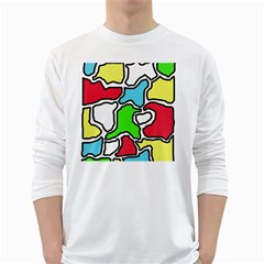Colorful abtraction White Long Sleeve T-Shirts