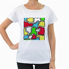 Colorful abtraction Women s Loose-Fit T-Shirt (White)