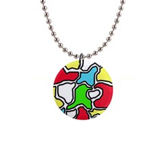 Colorful abtraction Button Necklaces