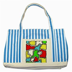 Colorful abtraction Striped Blue Tote Bag