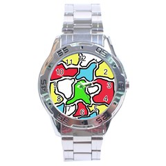 Colorful abtraction Stainless Steel Analogue Watch