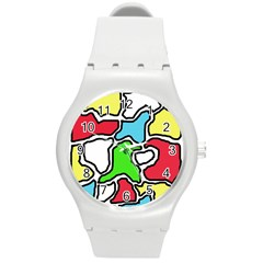 Colorful Abtraction Round Plastic Sport Watch (m)