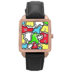 Colorful abtraction Rose Gold Leather Watch
