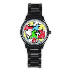 Colorful abtraction Stainless Steel Round Watch