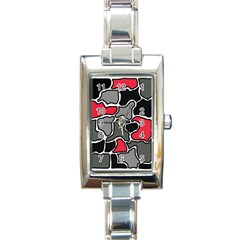 Black, gray and red abstraction Rectangle Italian Charm Watch