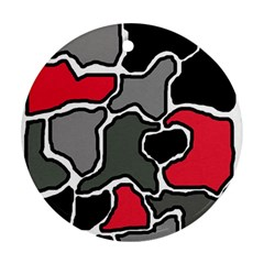 Black, gray and red abstraction Ornament (Round)