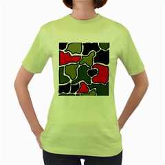 Black, gray and red abstraction Women s Green T-Shirt