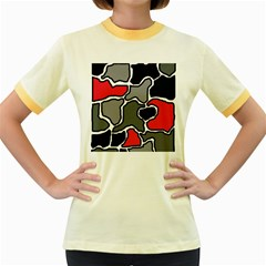Black, gray and red abstraction Women s Fitted Ringer T-Shirts
