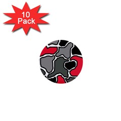 Black, gray and red abstraction 1  Mini Buttons (10 pack)