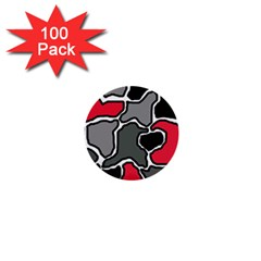 Black, gray and red abstraction 1  Mini Buttons (100 pack)