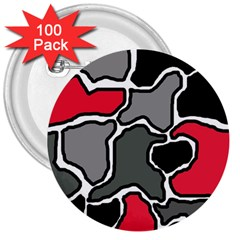 Black, gray and red abstraction 3  Buttons (100 pack)