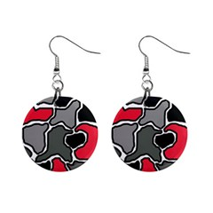 Black, gray and red abstraction Mini Button Earrings