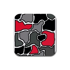 Black, gray and red abstraction Rubber Coaster (Square)