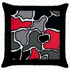 Black, gray and red abstraction Throw Pillow Case (Black)