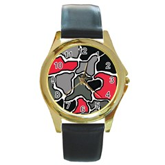 Black, gray and red abstraction Round Gold Metal Watch