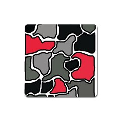 Black, gray and red abstraction Square Magnet