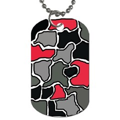 Black, gray and red abstraction Dog Tag (One Side)