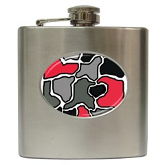 Black, gray and red abstraction Hip Flask (6 oz)