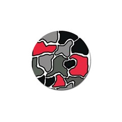 Black, gray and red abstraction Golf Ball Marker (4 pack)