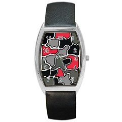 Black, gray and red abstraction Barrel Style Metal Watch