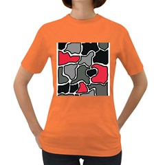 Black, gray and red abstraction Women s Dark T-Shirt