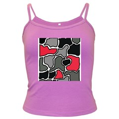 Black, gray and red abstraction Dark Spaghetti Tank