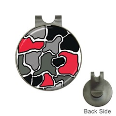 Black, gray and red abstraction Hat Clips with Golf Markers