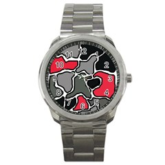 Black, gray and red abstraction Sport Metal Watch