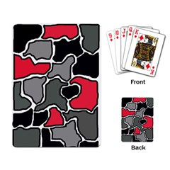 Black, gray and red abstraction Playing Card