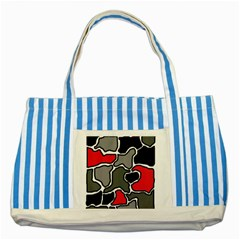 Black, gray and red abstraction Striped Blue Tote Bag