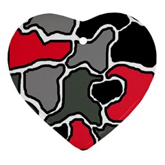 Black, gray and red abstraction Heart Ornament (2 Sides)