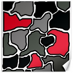 Black, gray and red abstraction Canvas 16  x 16