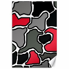 Black, gray and red abstraction Canvas 24  x 36