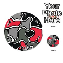 Black, gray and red abstraction Playing Cards 54 (Round)