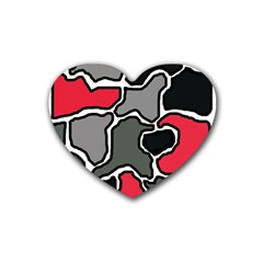 Black, gray and red abstraction Heart Coaster (4 pack)