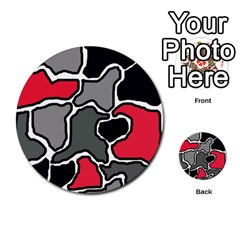 Black, gray and red abstraction Multi-purpose Cards (Round)