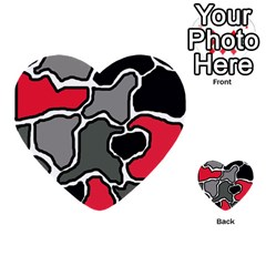 Black, gray and red abstraction Multi-purpose Cards (Heart)